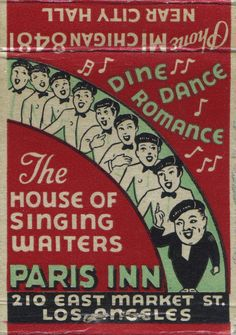 Paris Inn. Los Angeles, CA. by jericl cat, via Flickr. To order your business' own branded #matchbooks or #matchboxes. GoTo: www.GetMatches.com or call 800.605.7331