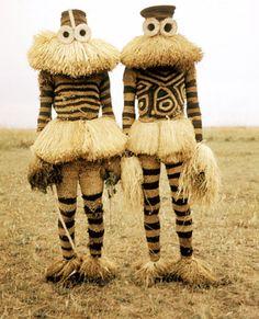 Minganji masqueraders from the Pende Peoples near Gungu, 1970