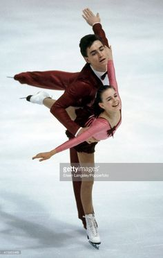 Pairs figure skaters Sergei Grinkov and Ekaterina Gordeeva of the USSR, en route to a silver medal at the European Championships in Copenhagen, circa 1986.