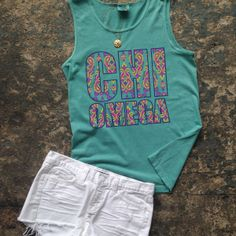 Holy cuteness! We love these tanks!  | Chi Omega | Made by University Tees | www.universitytees.com