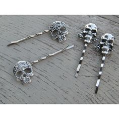 Skull Bobby Pins, Skull Hair Clips, Hair Slides, Skull Hair Pins,... ($15) ❤ liked on Polyvore featuring accessories, hair accessories, barrette hair clips, hair pins, goth hair accessories, rose hair pins and hair clip accessories