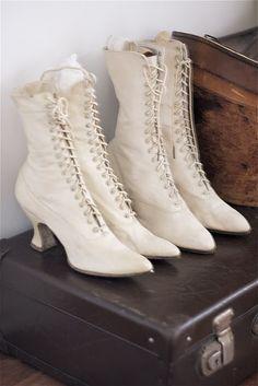 Ladies white leather antique boots