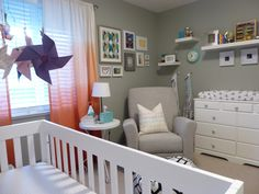 Beautiful nursery with Dutailier's glider in grey. (Model Concerto 313) Made in Canada Project Nursery - P1000240