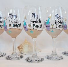 """BEACH BACHELORETTE PARTY Wine Glasses - Personalized """"Beach Bach"""" Hand Painted…"""