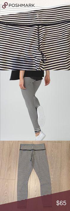 Lululemon Wunder Under *Cotton Pants Classic Black and White Striped 89% Organic Cotton 11% Lycra Spandex Good Pre-worn Condition lululemon athletica Pants Leggings