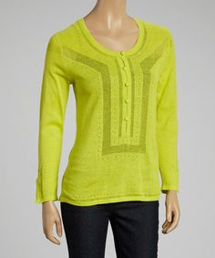 Love this Chartreuse Linen-Blend Sweater by Avalin on #zulily! #zulilyfinds