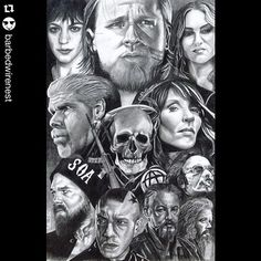 A very well drawn pic of the Sons of Anarchy cast.