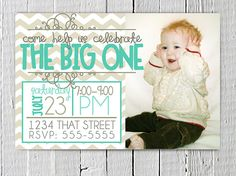 Coupon Code - REPIN10 for 10% off Birthday Grey and Teal Blue Invitation Custom Photo Printable, JPG Digital File, Boy Girl invite, Chevron print Party Supplies $12.99
