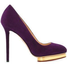 Charlotte Olympia Dotty 125 Pumps ($594) ❤ liked on Polyvore featuring shoes, pumps, purple pumps, platform pumps, high heel pumps, platform shoes and almond toe pumps