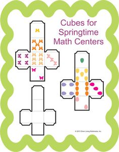 These cubes are perfect for math centers or other games that you play with dice.  There is also a blank template included so that students can design their own dice.