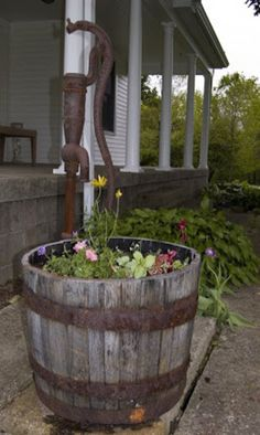 Old Well, Rain Barrel & Flowers