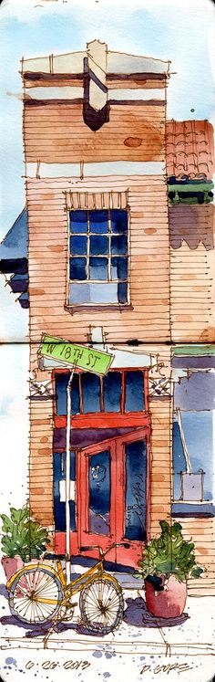 Lovely Watercolor Sketchbook drawing from Urban Draw