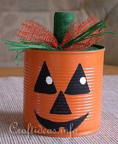 DIY Halloween : DIY  Jack o' Lantern Can DIY Halloween Decor