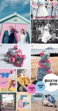 Vintage seaside wedding ~ I like the flamingo cake