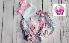 Ruffled Baby Girl Romper Vintage Shabby Chic all by ChubbyBaby, $40.00