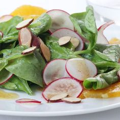 Try this delicious salad with juicy oranges, fresh radishes, baby spinach and almonds all tossed in a vinaigrette.