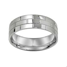 Mens Stainless Steel 70 Mm Brick Pattern Plain Wedding Band Amazon Curated Collection 1318