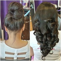 Versatile sew-in! On the left I pulled it up in a bun and on the right I curled it with the Marcel iron. #DeeperThanHair #ShearGeniusCollection #UpholdYourCROWN
