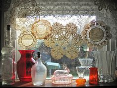 Great curtains! Sewed together doilies...!
