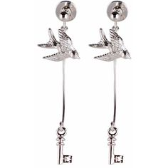 Roz Buehrlen - Silver Swallow & Key Earrings ($195) ❤ liked on Polyvore featuring jewelry, earrings, silver drop earrings, polish silver jewelry, heart shaped earrings, heart earrings and carved jewelry