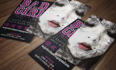 Création et conception de la carte de visite pour le salon de piercing Bad Girl Studio. Impression et livraison des fichiers.