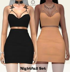 """lumysims: """" NightFall Set • 20 Swatches each • HQ Mod Compatible • Custom Catalog Thumbnails • Shadow Map (?some people requested i mention it so i will from now on) • You can wear together or separately • Download on my website """""""