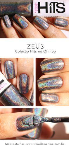 Esmalte Holográfico da Hits -  Zeus – Grafite/Preto que embaixo do Sol fica com um brilho sensacional! Perfeito para brilhar muito com as unhas holográficas