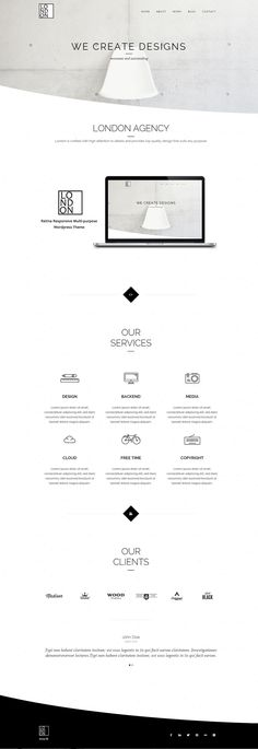 London Website Design / Black & White / Minimalistic / Wireframe / Whitespace / Photographs / Organised / Simple / Sophisticated / Wordpress Analisamos os 150 Melhores Templates WordPress e colocamos tudo neste E-Book dividido por 15 categorias e nichos de mercado. Download GRATUITO em http://www.estrategiadigital.pt/150-melhores-templates-wordpress/