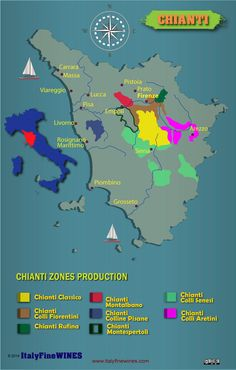A map of Chianti wine region with details of doc and docg appellations. Download it at www.italyfinewines.com