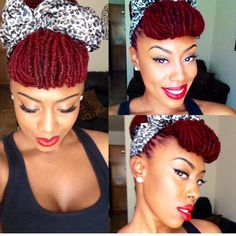 A lovely pin-up style with faux bangs. Accomplish this look with bobby pins and a hair tie. Add a pretty scarf to finish. Dreadlock Styles, Dreads Styles, Updo Styles, Curly Hair Styles, Scarf Styles, Vida Natural, Pelo Natural, Natural Hair Care, Natural Hair Styles