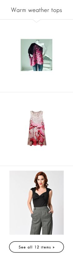 """""""Warm weather tops"""" by judyrstinson ❤ liked on Polyvore featuring tops, one shoulder shirt, green shirt, green silk shirt, strappy top, strap shirt, crew neck tank, crew neck tank top, j.crew tank tops and pink tank"""