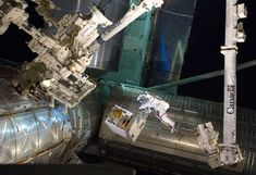 Space robotic arm in action ...