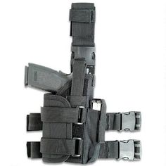 Tactical drop leg holster fits medium to large framed semi-autos with lights, laser and rail. Adjustable thumb break and holster with padding and a non-slip leg strap. Only $14.97