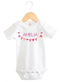 Purple Bunting Baby Name Onesie | Personalised Baby Products | Word On Baby