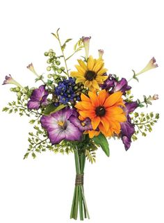 Mixed Silk Floral Wildflower Bouquet in Assorted Colors - 13in. Tall for aisle