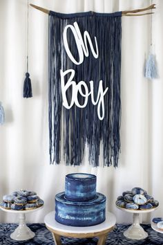 Oh Boy Fringe Tassel Backdrop from a Shibori Tie Dye Baby Shower Brunch on Kara'. Oh Boy Fringe Tassel Backdrop from a Shibori Tie Dye Baby Shower Brunch on Kara's Party Ideas Baby Shower Azul, Décoration Baby Shower, Fiesta Baby Shower, Baby Shower Brunch, Boy Baby Shower Themes, Baby Shower Gender Reveal, Baby Shower Parties, Baby Boy Shower Decorations, Boy Baby Showers