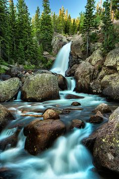 Alberta Falls Photograph - Alberta Falls At Daybreak - Www.photography by T-S Photo Art Beautiful Photos Of Nature, Nature Pictures, Amazing Nature, Beautiful Landscapes, Cool Pictures, Beautiful Places, Watercolor Landscape, Landscape Art, Landscape Paintings