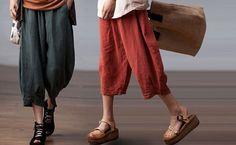 summer linen Leisure loose  pants  / loose Trousers / girls pants/ wide leg / 3colors /  AOLO-230