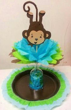 63 New Ideas Baby Shower Safari Centerpieces Baby Showers, Distintivos Baby Shower, Mesas Para Baby Shower, Fiesta Baby Shower, Shower Party, Baby Shower Games, Baby Shower Parties, Safari Centerpieces, Baby Shower Centerpieces