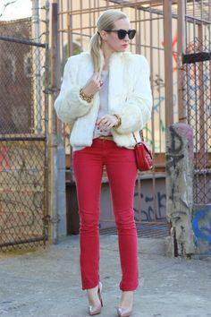 "Rich & Skinny Jeans, Thrifted Faux Fur Coat, Zara Sweater, J Crew Belt, Vintage Chanel, Louboutin Shoes. Karen Walker Sunglasses, Bracelets: Poshlocket, J Crew, Hermes. Nails: Essie ""Lacquered Up."" Lips: Revlon ""Love that Red."""
