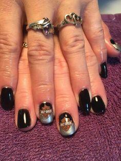 Harley Davidson nail Art by Marci Miller