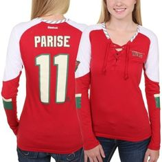 Women s Minnesota Wild Zach Parise Reebok Red Faceoff Player Lace-Up Long  Sleeve T-Shirt 0c9cddb1b