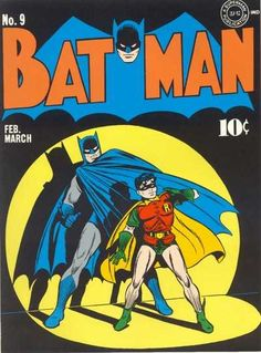BAT-HISTORY, MARCH 1942: Although the stories inside of Batman #9 featured some pretty outlandish plot points - including Batman killing a whale with a harpoon and The Joker escaping prison by using a breathing apparatus - artists Fred Ray and Jerry Robinson provided one of the most iconic covers in Batman history for this issue. This image has been paid homage to many times, including an almost identical cover about a year later for Batman #16.