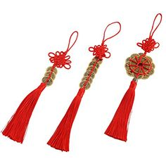 Uniquelover Chinese Red Enless Knot Feng Shui Lucky Coins for Wealth and Good Fortune--3pcs => Once in a lifetime offer : Christmas Home Decor