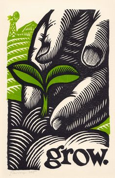 a sprout in the limitless field of opportunity.  woodcut by Peter Nevins.