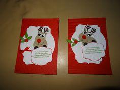 Weihnachtskarte Karte Weihnachten Stampin up Eulenstanze Renntiere Rudolf Glutrot Flüsterweiß Elch