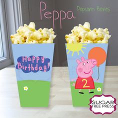 """These popcorn boxes have four sides. The photo above illustrates the different sides of the popcorn box. The box measures about 4"""" tall, about 2"""""""