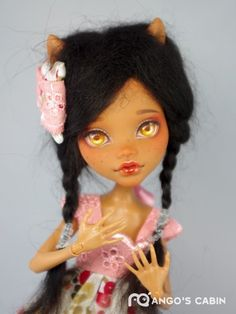 Monster High Custom Artist Repaint OOAK Clawdeen Handmade Hair by Mango's Cabin