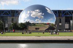 A stylish modern mirror ball - La Géode is a home of the Omnimax IMAX cinemahidden inside. #walkinparis