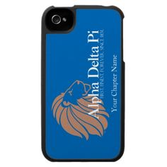 Alpha Delta Pi Gold Lion with Blue Background iPhone 4 Cases